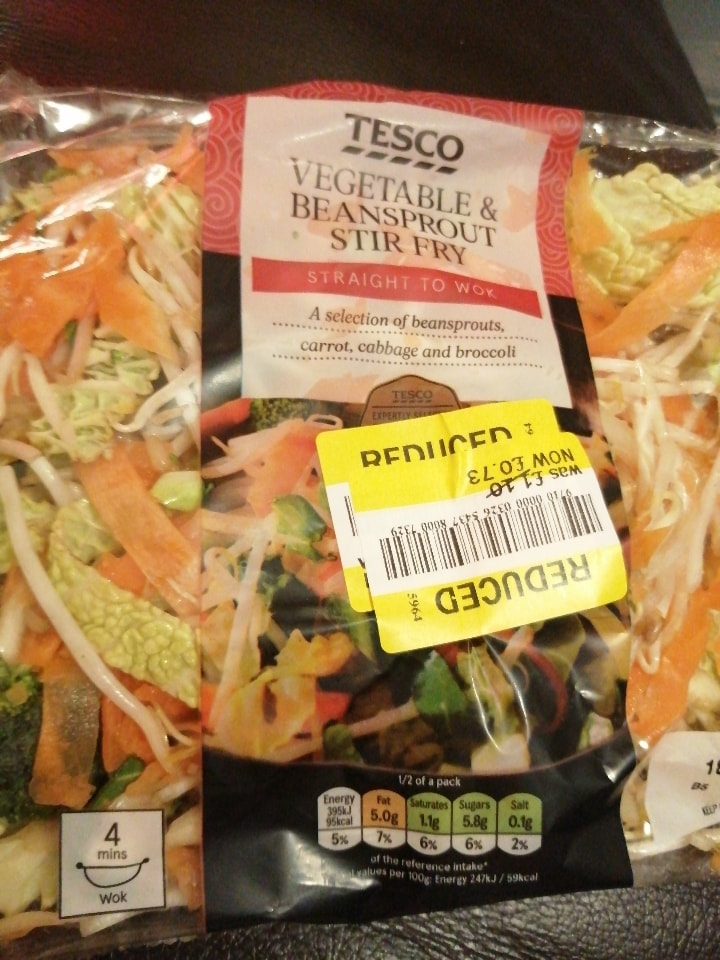 Tesco vegetable and beansprout stir-fry