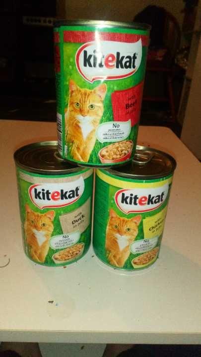 Three tins of cat food