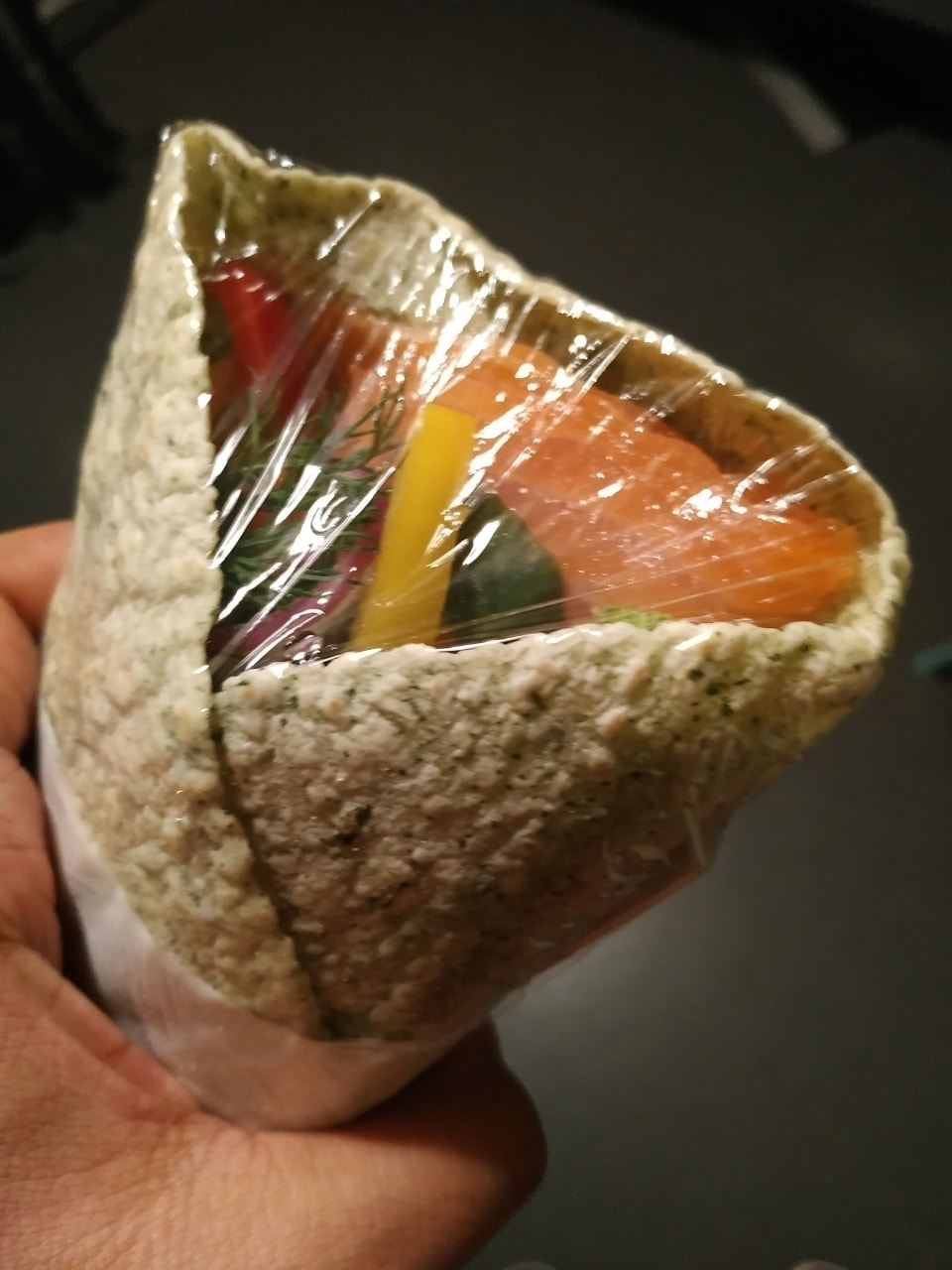 Fresh salmon wrap with vegetables donated by stories (12/12)