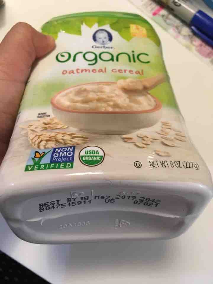 Organic oatmeal cereal opened