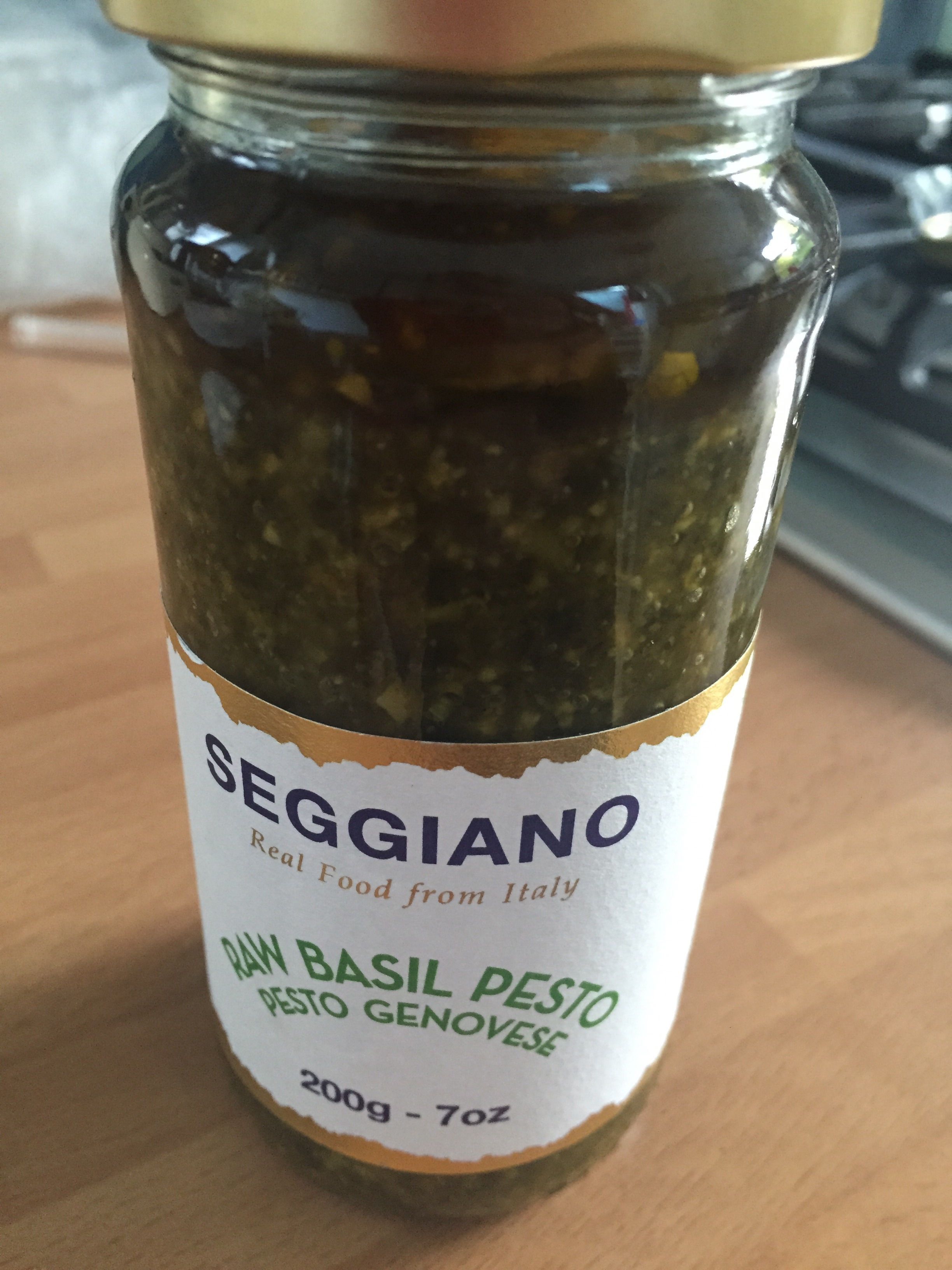 Raw basil pesto unopened
