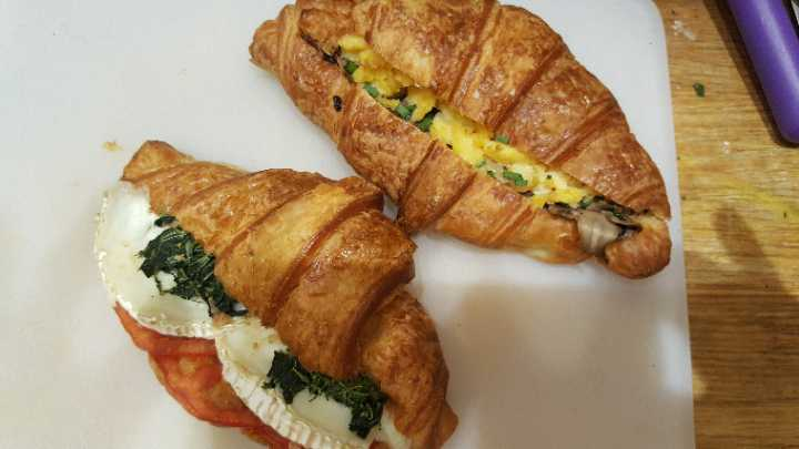 Egg and mushroom/goats cheese,tom,spinach croissant