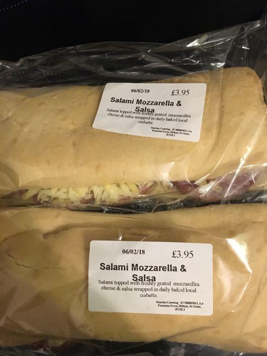 Salami, mozzarella and salsa ciabatta x2