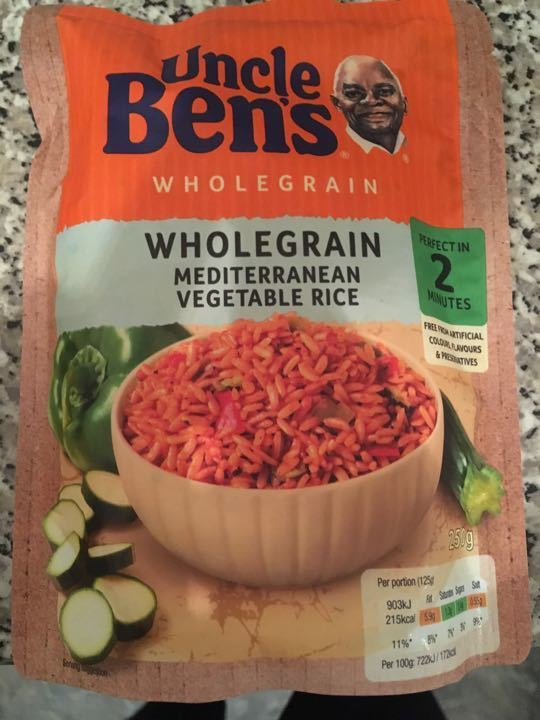 Uncle Bens Wholegrain Mediterranean Vegetable Rice
