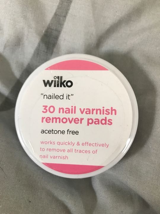 Nail varnish remover pads x 30. Unopened
