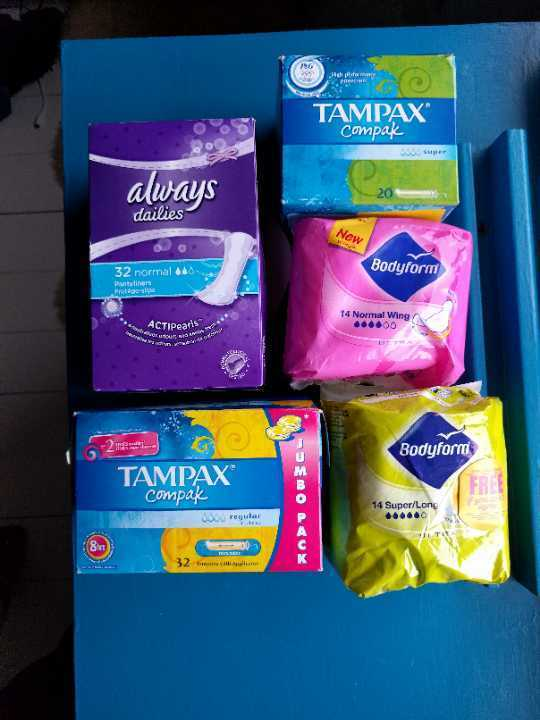 Tampons and pads and pantyliners