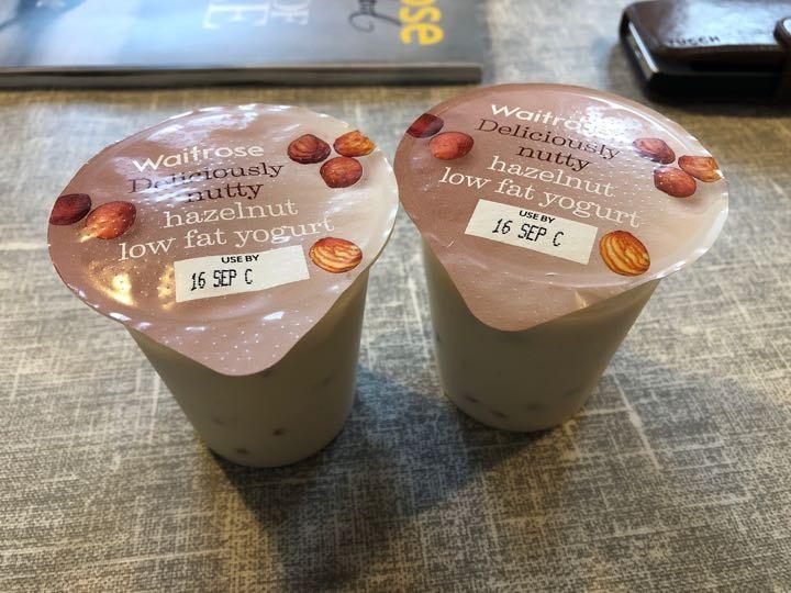 2 hazelnut yoghurts