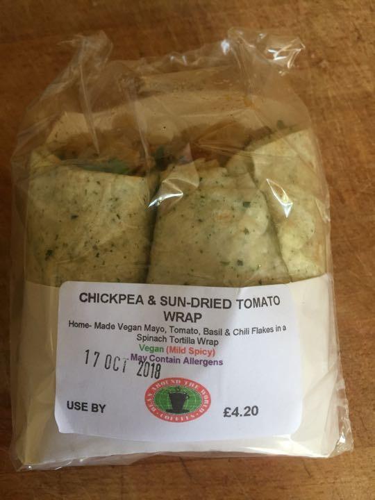Chickpea and tomato wrap
