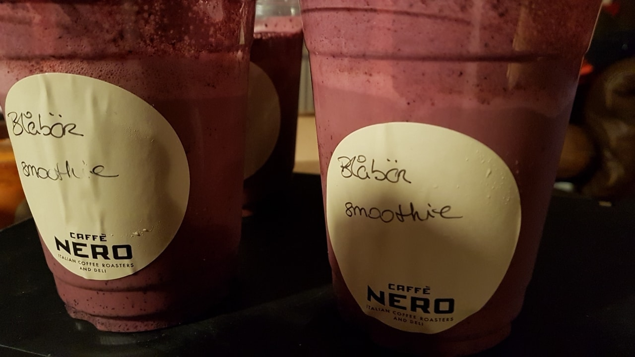 Blueberry smoothie. Donated by Caffe Nero
