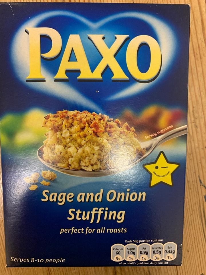 Paxo Sage and onion stuffing mix