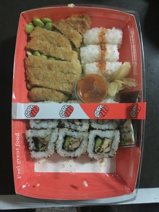 Chicken sushi tray (cooked)
