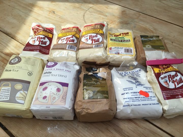 Selection of out of date gluten free flours (unopened)