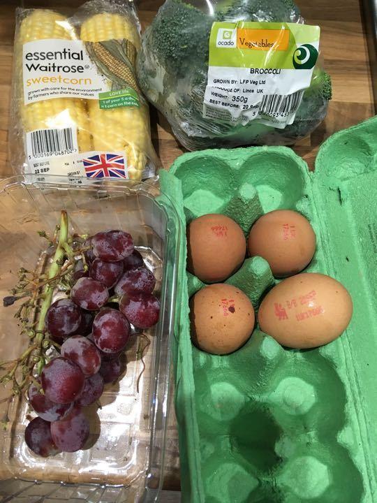 Broccoli sweet corn grapes eggs