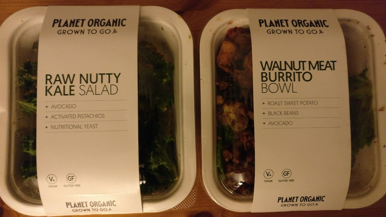 1x Raw Nutty Kale Salad and 1 Walnut Burrito bowl from Planet Organic