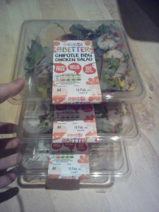 Three chicken chipotle salads