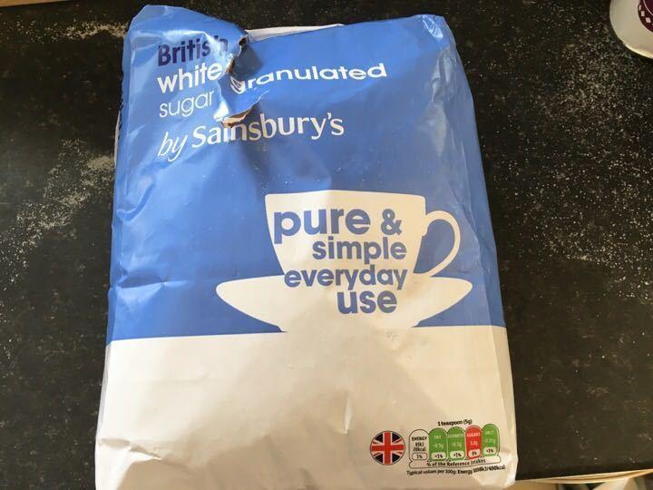 5kg white granulated sugar (bag open)