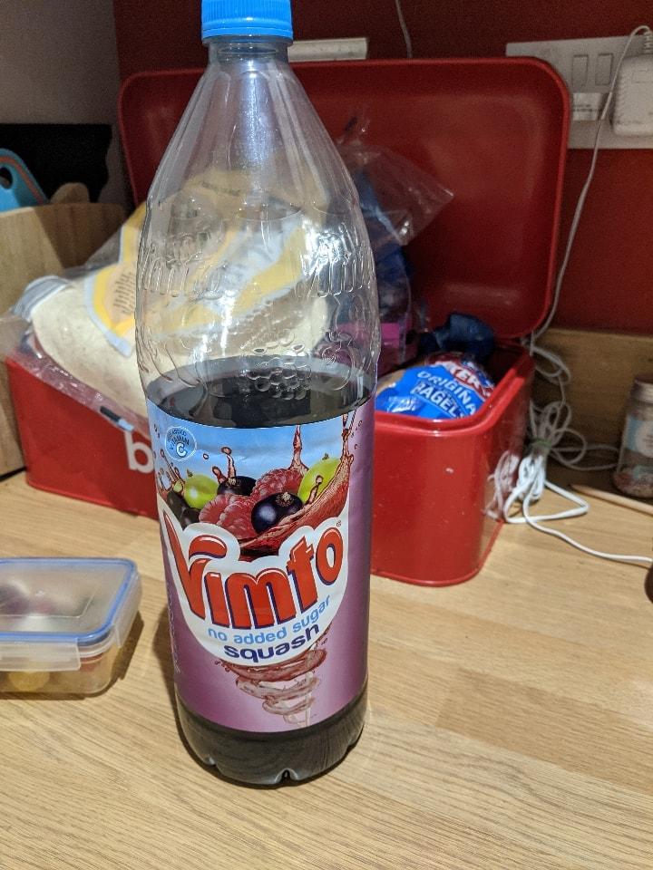 Vimto squash 2/3 full