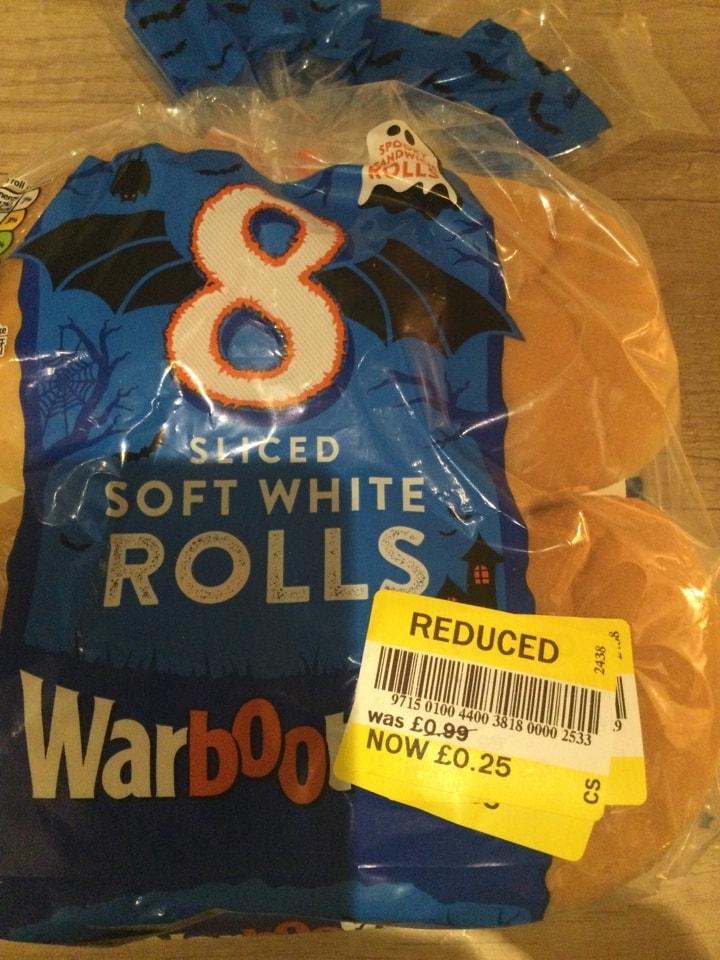 Sliced white rolls