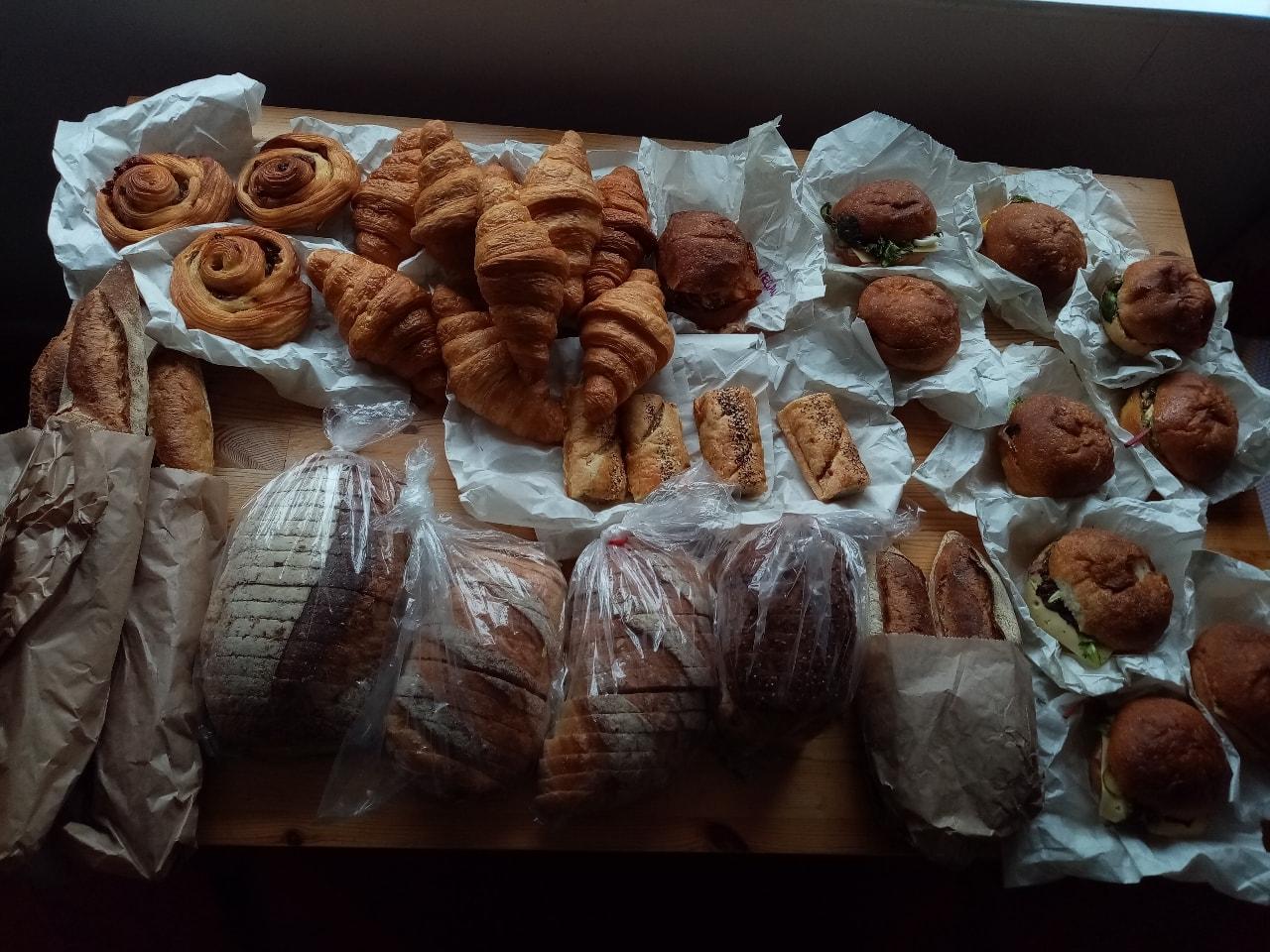 Sandwiches, bread, sausage rolls