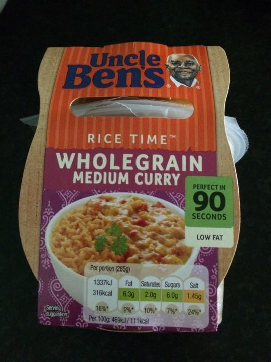 Uncle Ben's curry and rice lunch pot