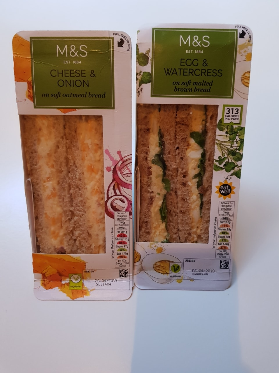 Egg and cress and cheese and onion sandwich