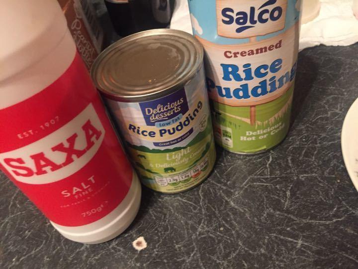 Rice pudding and salt!