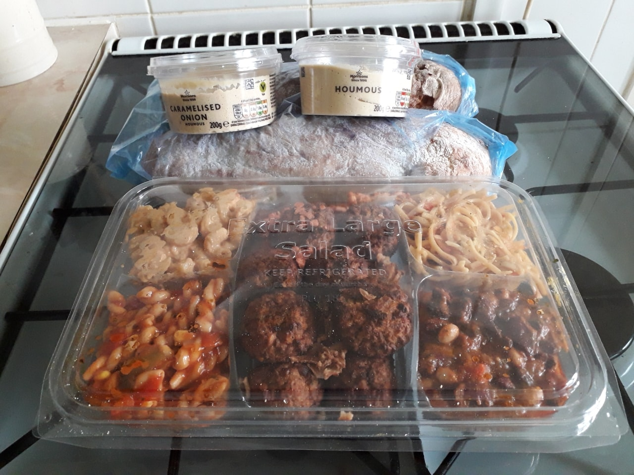 Falafel, pasta salads hummus  and ciabatta