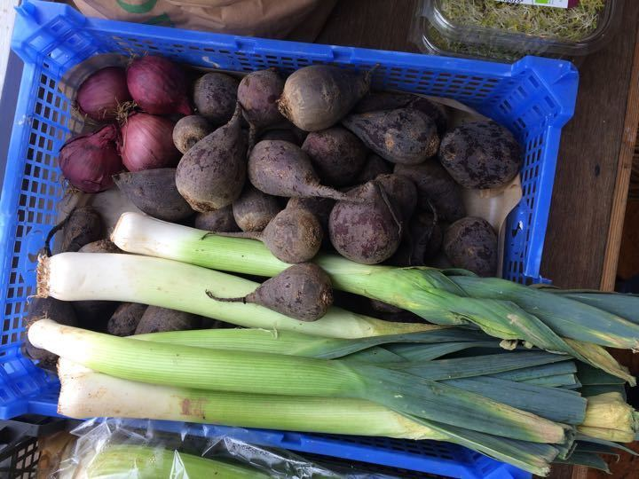 Leeks, beets and red onion