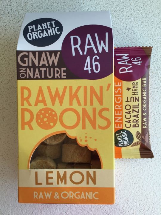 Planet Organic Raw 46 lemon cookies and a bar