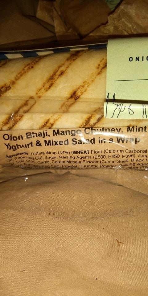 Onion bhaji wraps