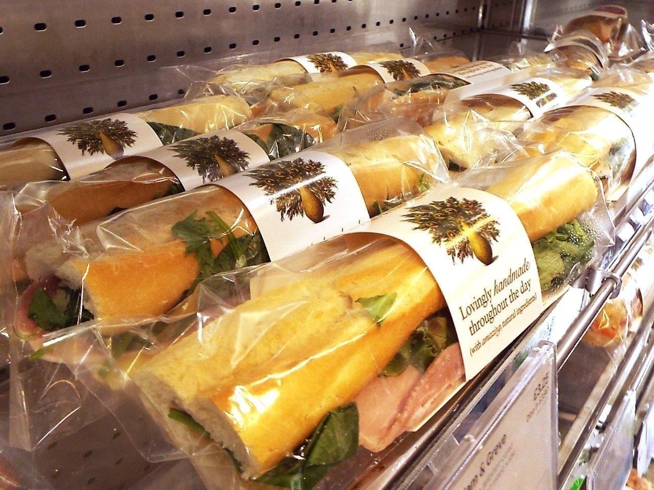 Monday Pret. Fish sandwiches, wraps, baguettes and salad.