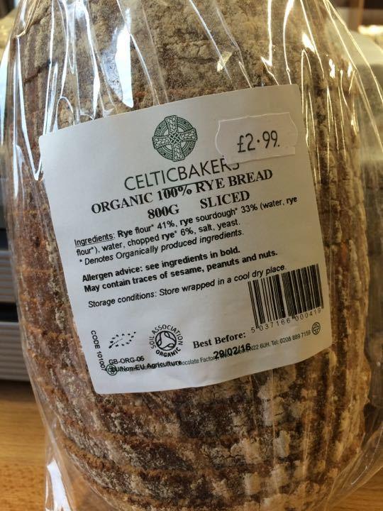 Organic 100% RYE bread