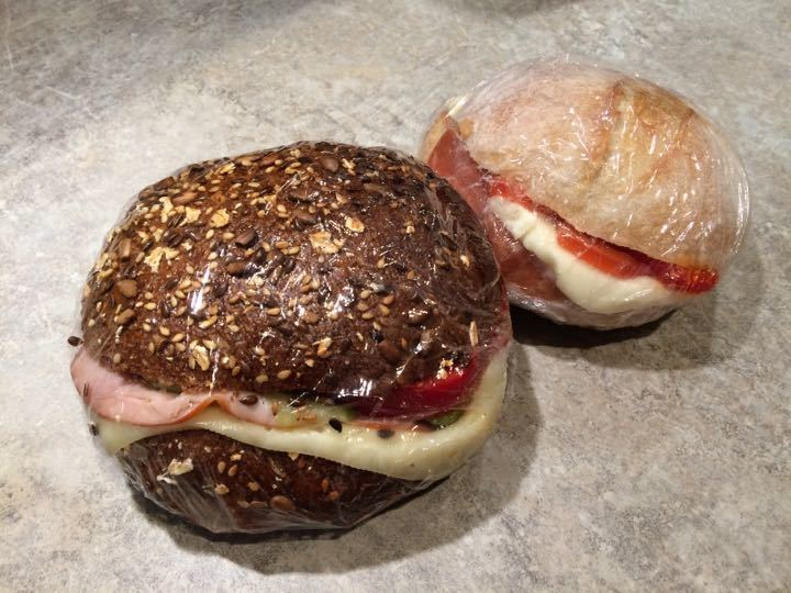 2 sandwiches with salami and Brie