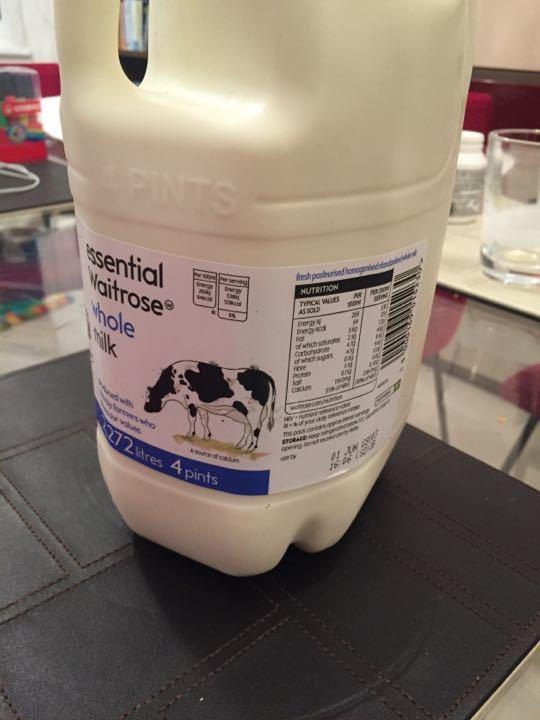 Unopened Waitrose whole milk - 2.27lt / 4 pints