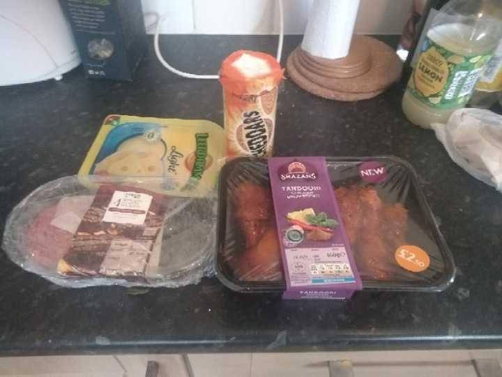 Tandoori drumsticks, Irish beef burgers, leerdamer cheese and  Jacob's Cheddars