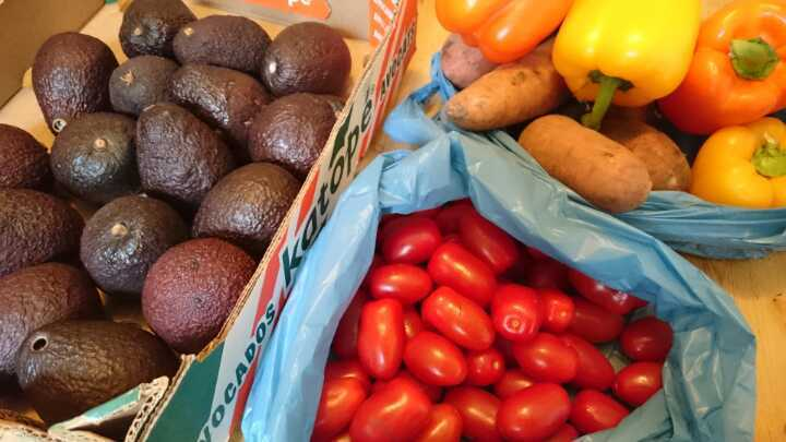 Avocados, tomatoes, peppers, sweet potatoes