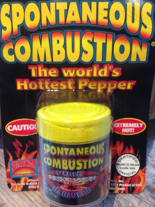 Spontaneous combustion pure habanero pepper.  Caution.  Extremely hot!