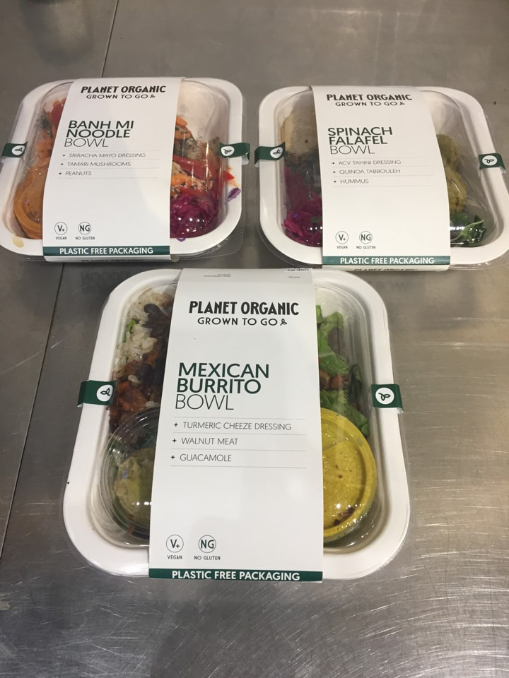 Planet Organic vegan bowls (banh mi, spinach falafel at the back)