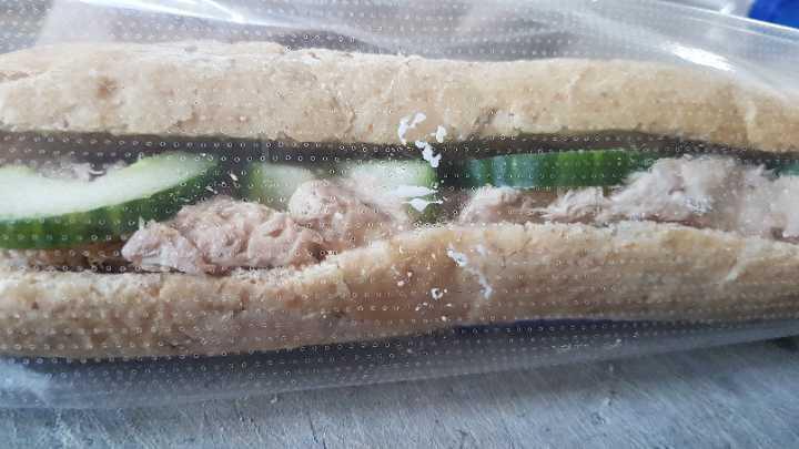 Tuna mayo cucumber baguette