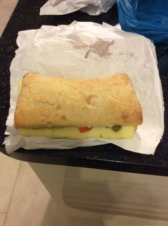 Cheese, tomato and pesto ciabatta