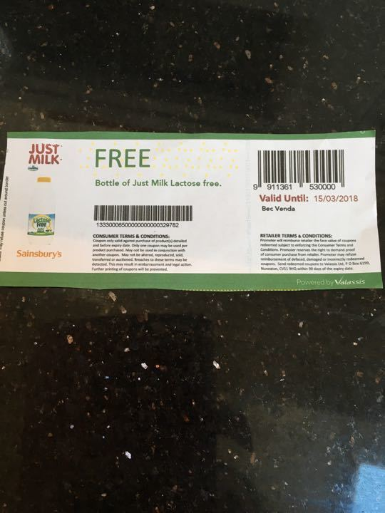 Coupon for lactose free milk