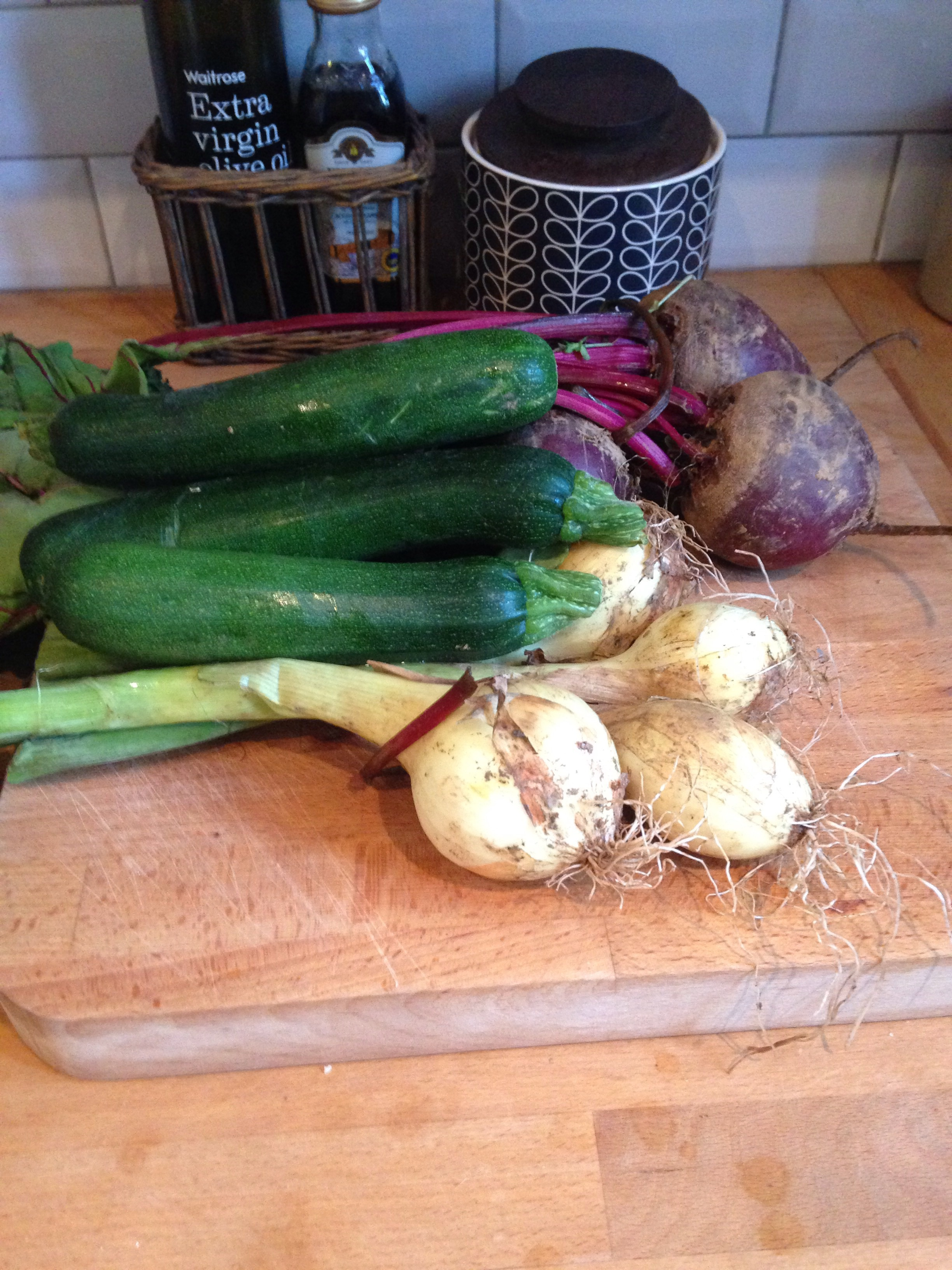 Beetroot, onions and courgettes