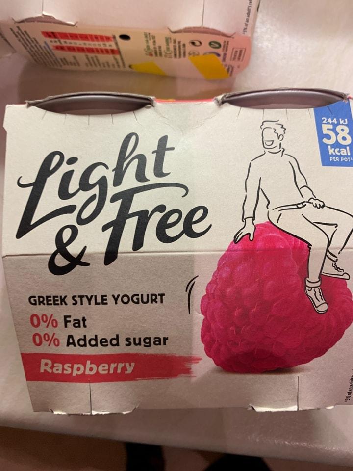 Raspberry  greek style yoghurts