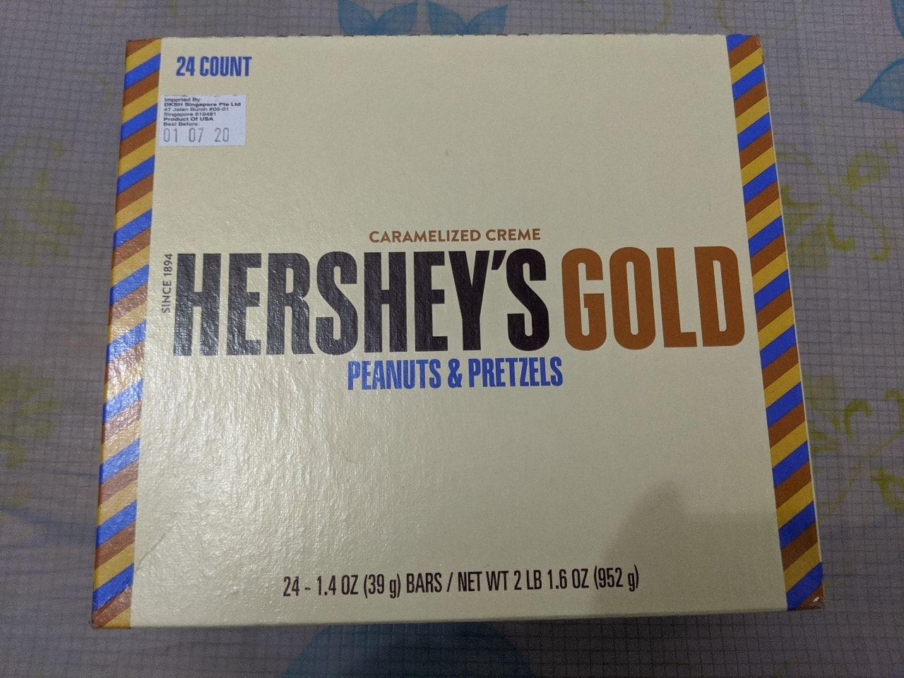 Hershey's Gold (Peanuts and Pretzels) - best consumed by 1st July 2020.