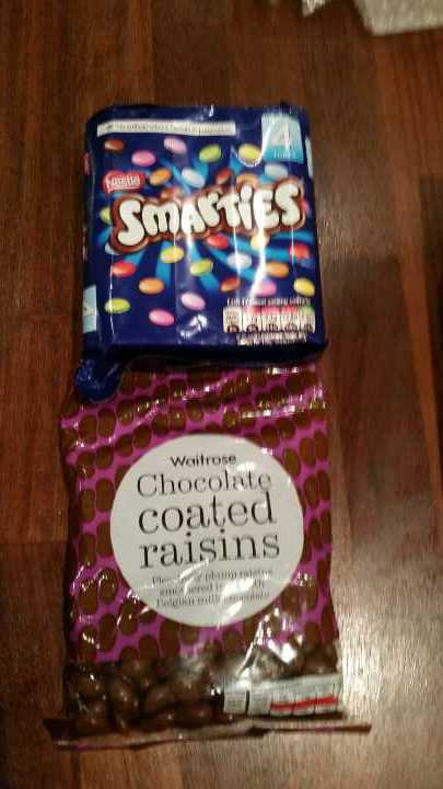 Smarties and Waitrose chocolate coated raisins