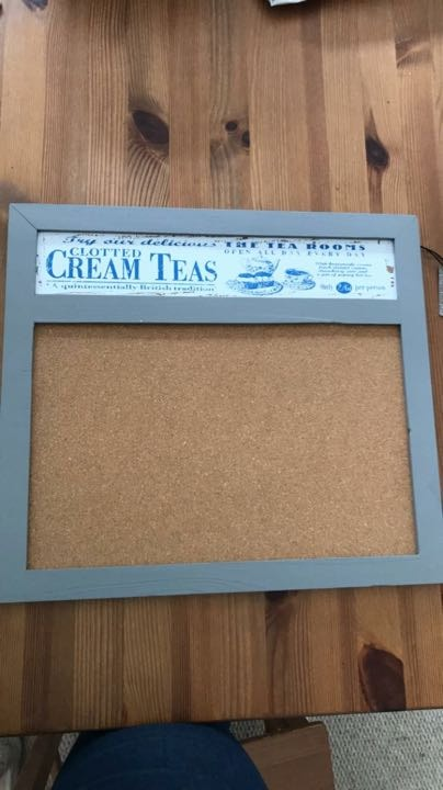 Shabby chic notice board/pin board. Brand new. Retro vintage cream tea design