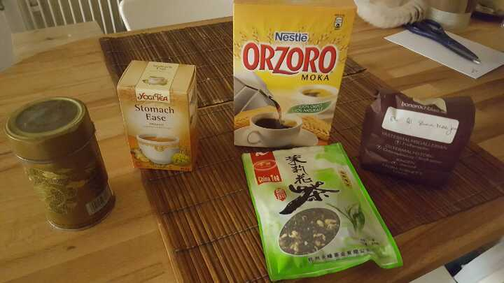 Green tea, infusions, and Italian Orzoro (substitute for coffee) to use with coffee makers and Italian moka