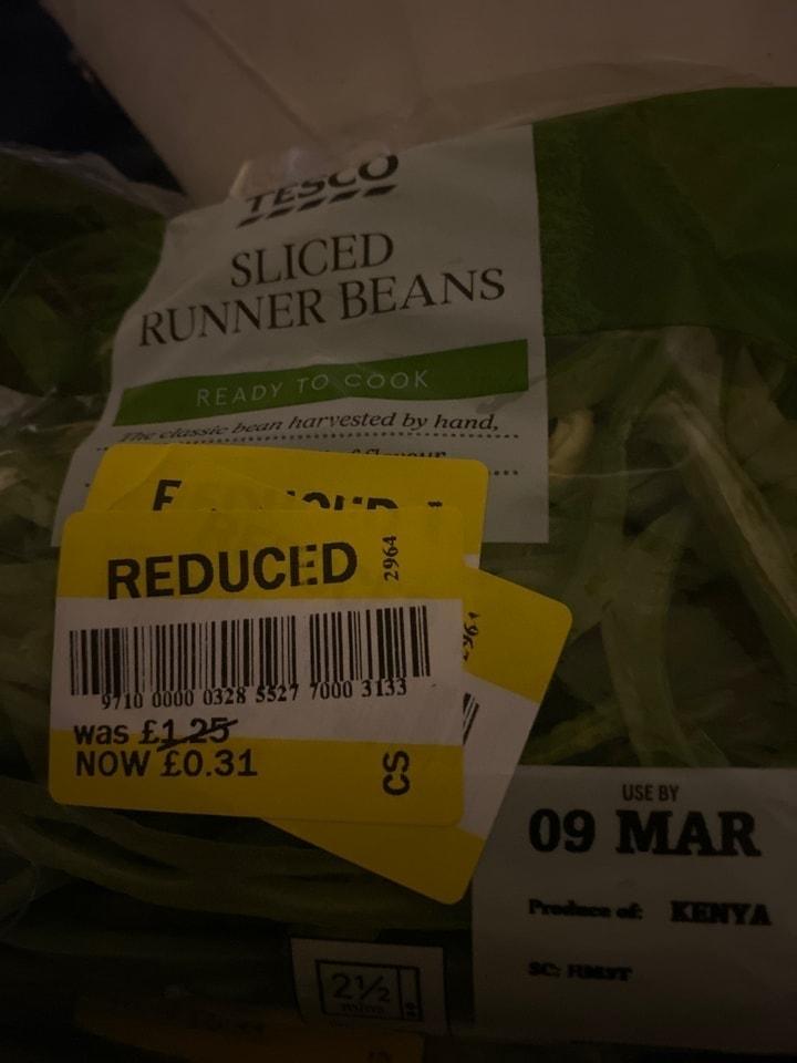 Sliced runner beans
