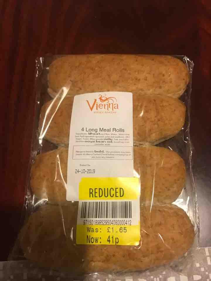 4 long meal rolls