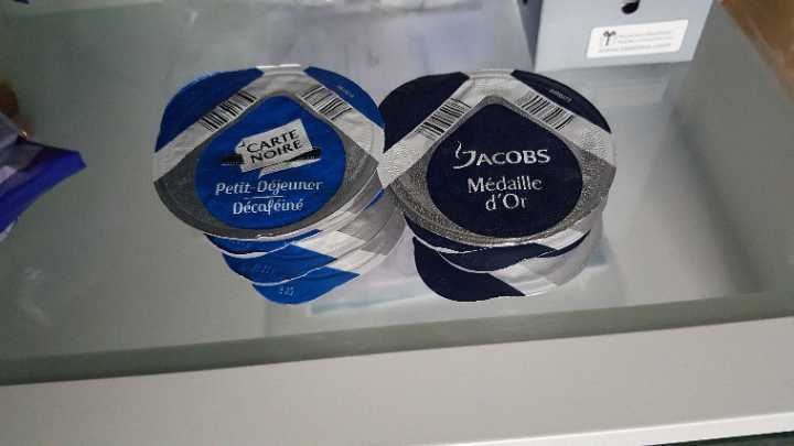 Carte Noire Caffeine free coffee and Jacobs Medaille D'or Coffee for Tassimo machines